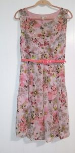 Cb Floral Pink Belted Sleeveless Dress